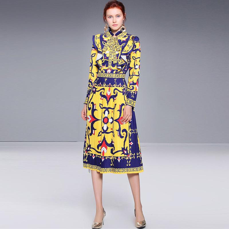 48352985d7 Compre Colorido Clásico Vestidos Plisados vestido De Fiesta De La Impresión  De La Vendimia De Las Mujeres Del Soporte Del Cuello De Manga Larga  Elegante ...