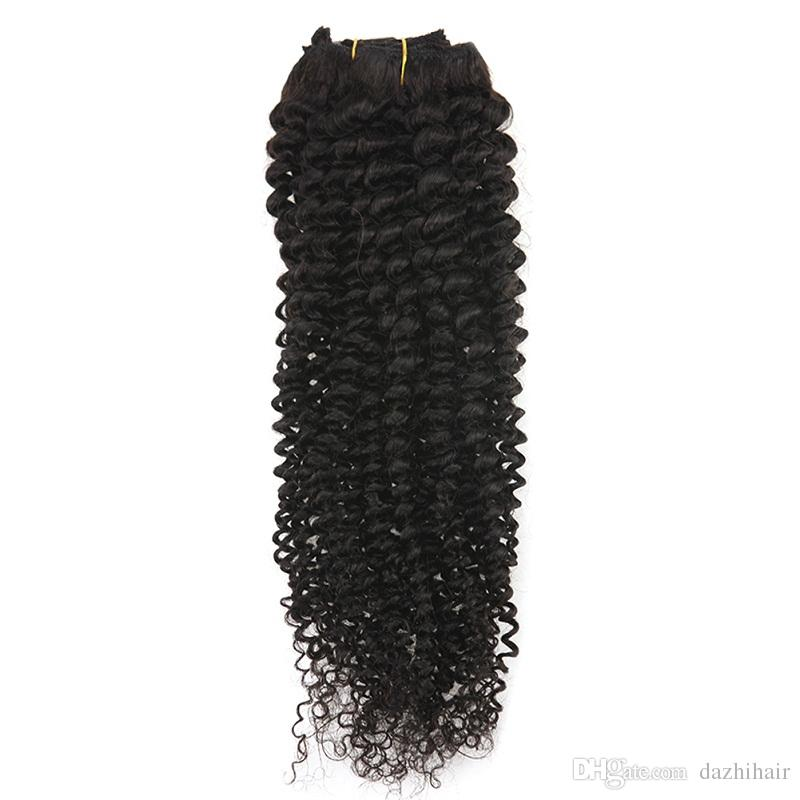 Mongolian Kinky Curly Clip ins 120gVirgin Hair Clip in Human Hair Extensions Curly Natural Color