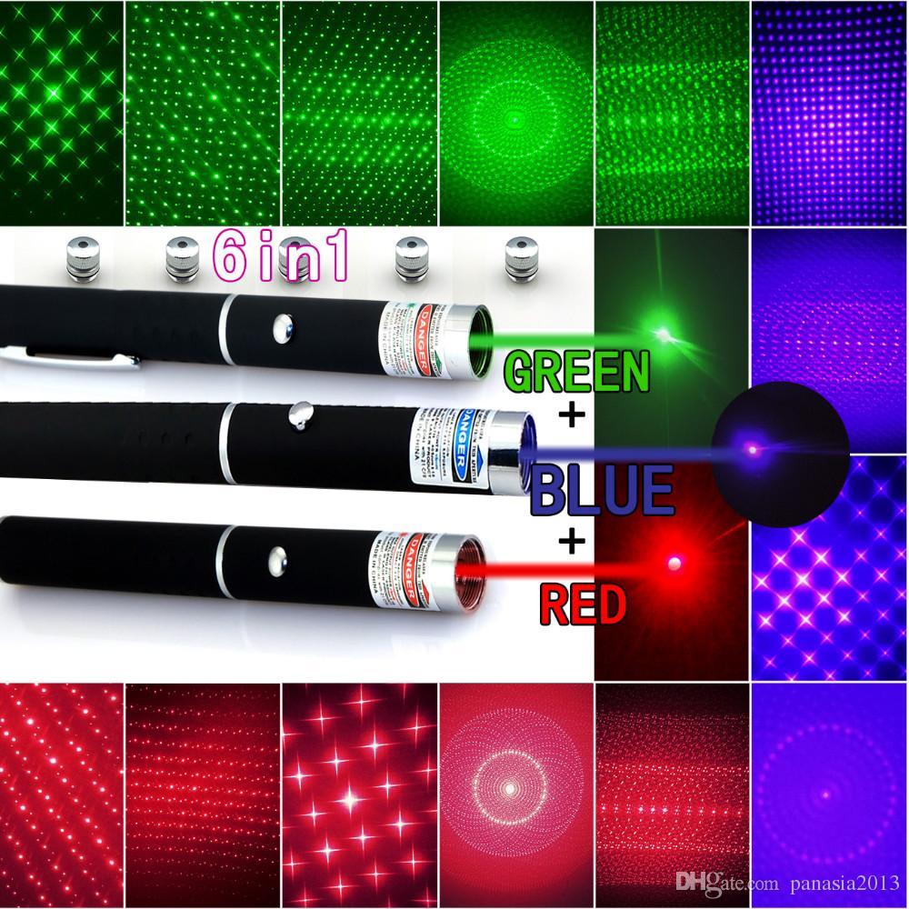 Nouvelle arrivée Top qualité 6in1 5mw 650nm rouge vert bleu stylo pointeur laser lampe de poche laser + 5 étoiles Caps faisceau lumière, ouverture