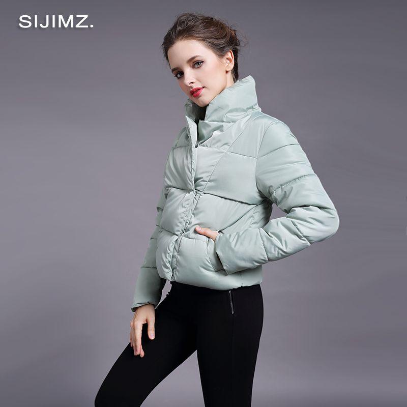 SIJIMZ 2017 Marka Yeni Moda Kadınlar Ceket Kadın Yüksek Kalite Sıcak Ceket Sonbahar Kış Parkas Kabanlar Lady Casual Ceketler