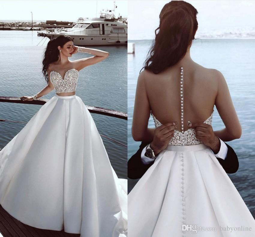 Sell Wedding Dress.Hot Sell Two Pieces Wedding Dress Summer Beach Sheer Long Sleeves Covered Buttons Back Bridal Gowns Sexy Beach Wedding Dresses