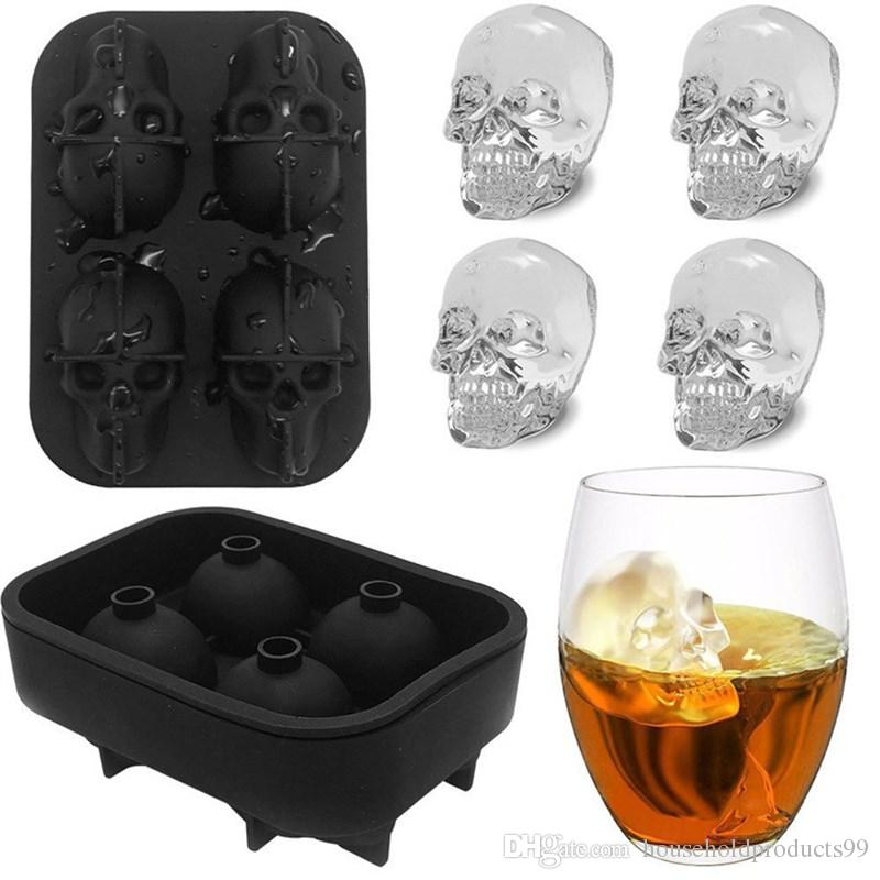 3D Stereoscopic Silicone Bones Skull Ice Cube Mold Box for Bar Kitchen Chocolate Tray or Cake Candy Mold Cooking Tools 115g 12*8.5*5cm