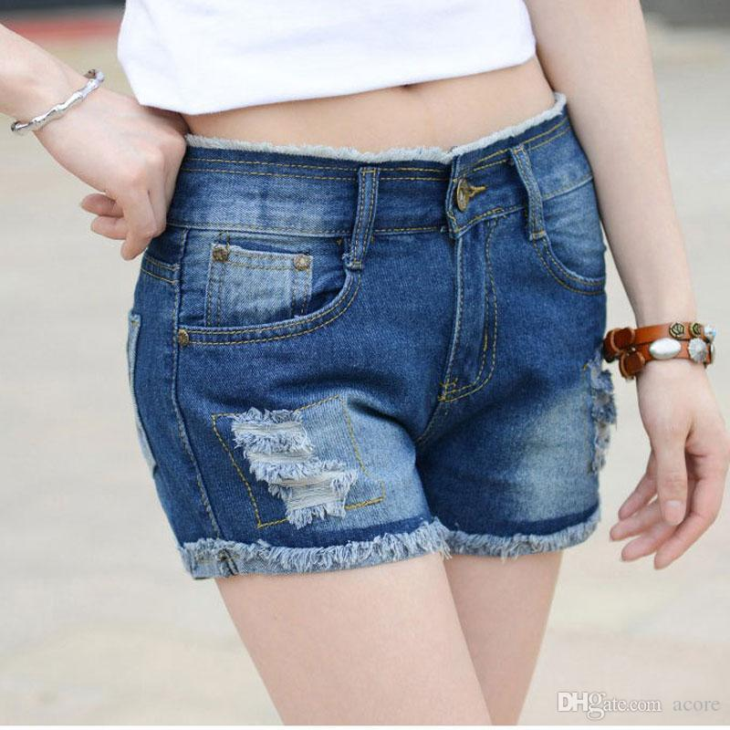 Compre Pantalones Cortos De Mezclilla De Primavera Y Verano Retro Mediados  De Cintura De Las Mujeres Pantalones Cortos De Mezclilla Azul Corto Y Flojo  ... 74fa626934cd