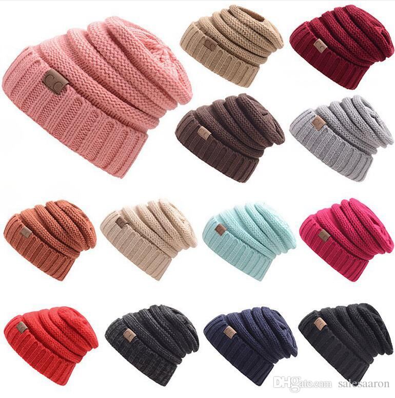 Winter Trendy Warm Hat Knitted CC Women Simple Style Chunky Soft Stretch  Cable Men Knitted Beanies Hat Beanie Skully Hats Colors F21s CC Hats CC  Beanie ... 7a34e44ca994