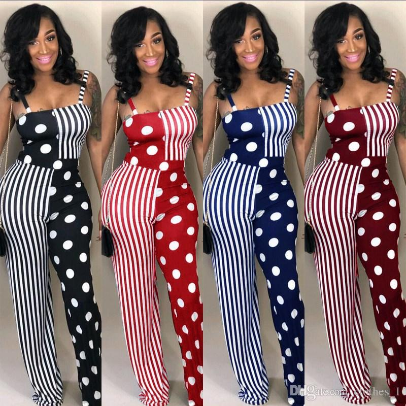 0acf8780e6aa 2019 Women Stripe Wave Point Strap Jumpsuit Sleeveless And Loose Pants Sexy  Fashion Romper Elegant Low Cut High Quality Suspender Pant Hot 80 From  Clothes 1 ...