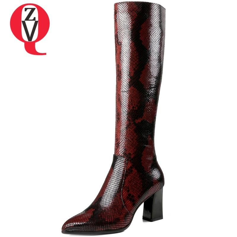 730aae181c7 ZVQ Women Shoes 2018 New Fashion Snakeskin Pattern Patent Leather ...