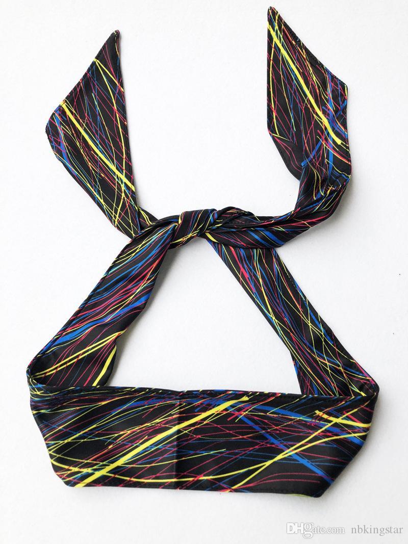 Femmes Hommes Striped Solid Tie Back Bandeau Sport Bandes Anti-dérapantes Stretch Bandes de transpiration Évacuation de la transpiration Yoga Bandeaux
