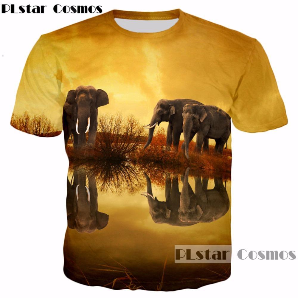 b44bcacee5b7 PLstar Cosmos Brand Clothing Hot Sale 2018 Summer New 3d T Shirt Nightfall  Animal Elephant Print T Shirt Men Women Casual Tees Long Sleeve T Shirts  Vintage ...