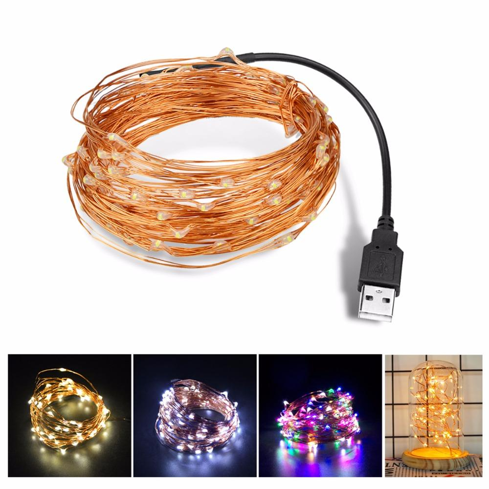 Dc 5v 5m 10m Usb Charger Led Strip Light Powered Rgb Copper Wire 12v Wiring Tape Holiday String Lighting Outdoor Fairy Christmas Tree Green