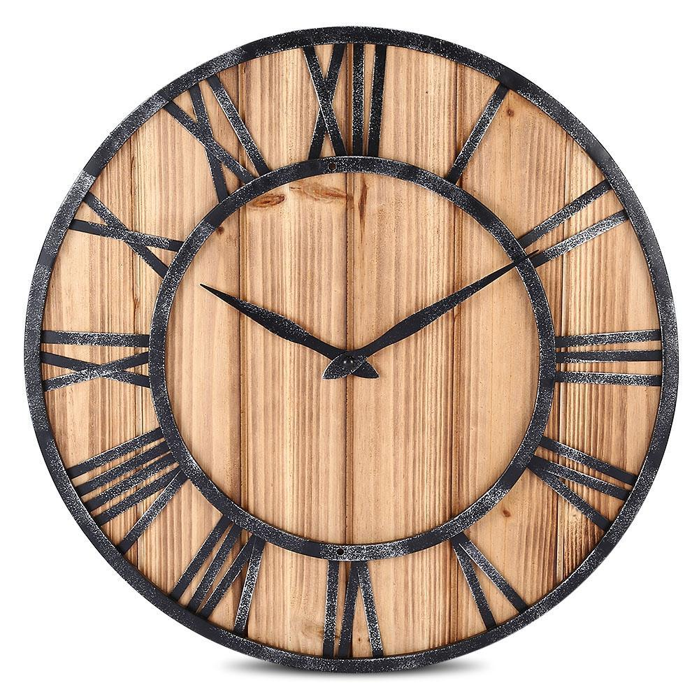 European Vintage Style Wall Clock Round Solid Wood Metal Non Ticking ...