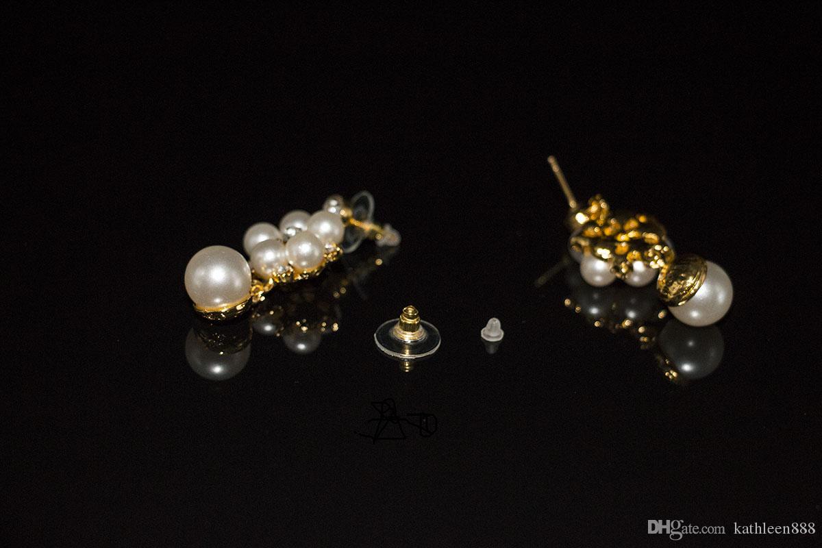 2016 nuovo matrimonio perle africane simulato set di gioielli di perle color oro parure de bijoux collana orecchino della vite prigioniera