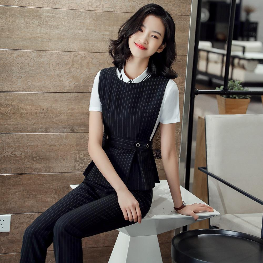 7a2c2a66617 2019 2018 Office Lady Work Wear Set Formal Pant Suit Size S 4XL Waistcoat  Belt Black Vest Women Sleeveless Jacket Blazer Pant From Masue