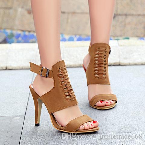 Factory Outlet sandales tissées chaussures boucles de ceinture orteil sandales hautes gommage talon haut sandales creux