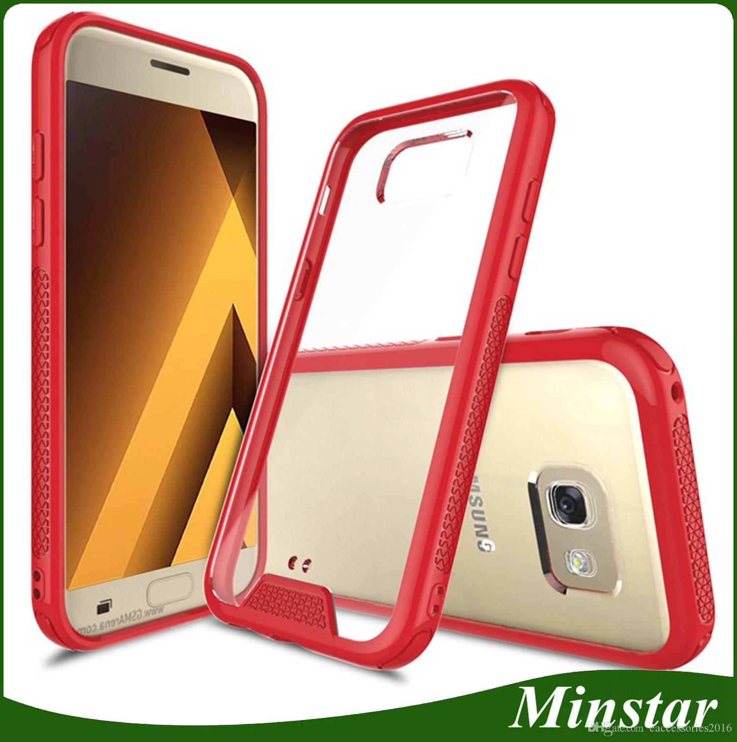 Fashionable Light Transparent Acrylic Tpu Bumper Frame Hybrid Mobile Phone Case Anti Scratch Cover For Samsung A7 2017 A720 A5 A520 A3 A320 Phone Cover