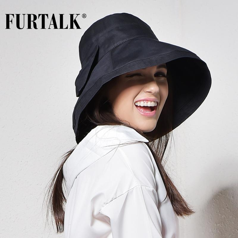 2019 FURTALK Women Bucket Hat For Fishing Beach Cotton Summer Sun Hats For  Women Fashion Design Foldable Brimmed With Big Bowknot From Sport2017 6eec29cd0c6