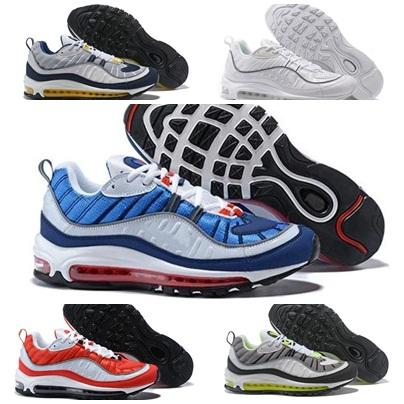 2018 98 OG Gundam Red Blue Silver Bullet Men Sneakers 98S Gundams White Running Shoes Fashion Trainers Re-old Brand Sports Sneakers 7-11