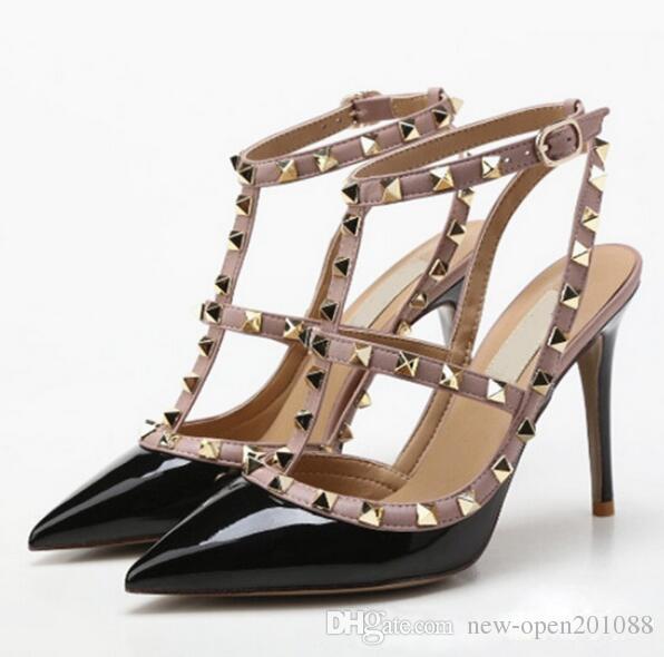4297cc9e3 Compre Mulheres Sapatos De Salto Alto Partido Sapatos De Moda Rebites  Meninas Sexy Apontou Toe Sapatos Fivela Sapatos De Plataforma Sapatos De  Casamento ...