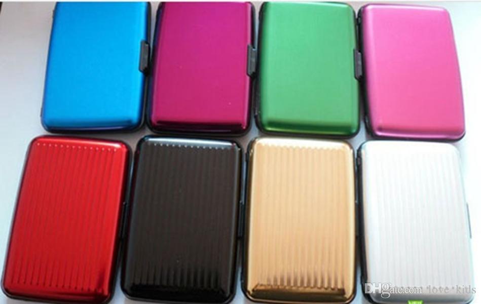 Glänzende mehrfarbige Tasche wasserdichte Brieftasche Business ID Kreditkarten Geldbörse Geldhalter Aluminiumlegierung außen + Kunststoff innen kostenloser Versand