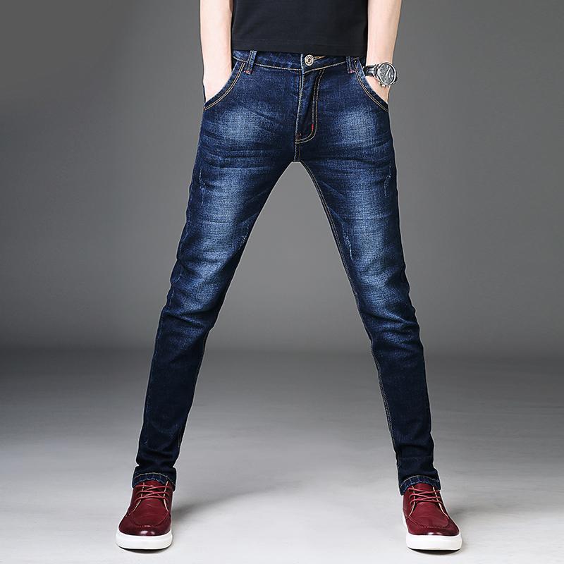 Compre Nuevo 2017 Hombres Pantalones Vaqueros Estilo Coreano Azul Para  Hombre Jeans Ajustados Hombre Slim Fit Pantalones Elásticos Pantalones De  Mezclilla ... 1159b5c9e526