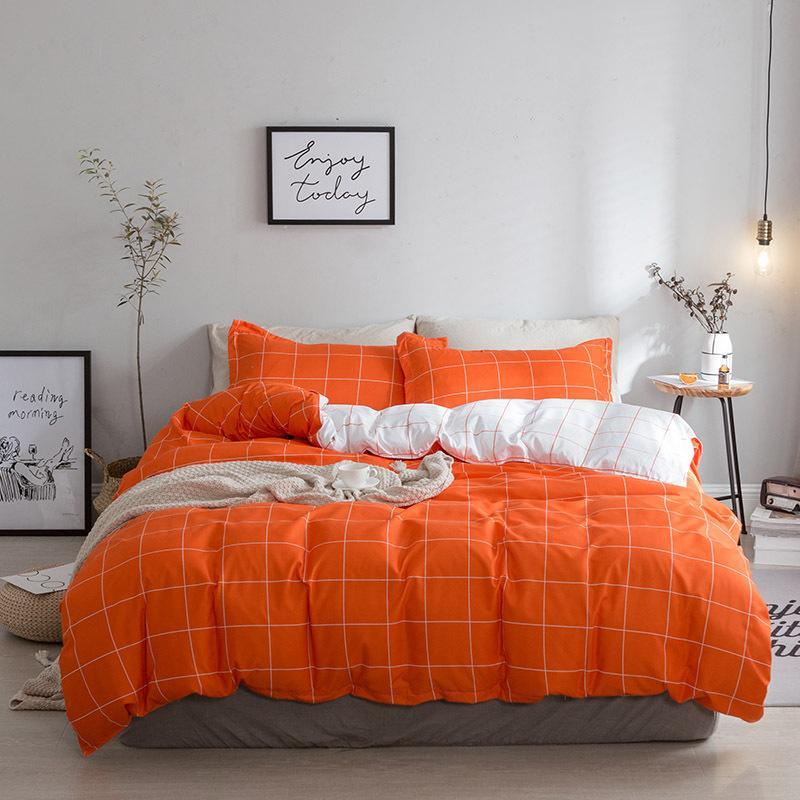 pure orange bedding duvet cover set queen king size funda nordica quilt cover bed flat sheet pillowcase douillette lit queen spiderman bedding feather duvet - Lit Queen Size