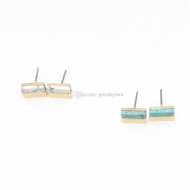 Natural Stone Earrings Druzy Crystal Stud Gold Plated Metal Ear Stud Jewelry for Women Men