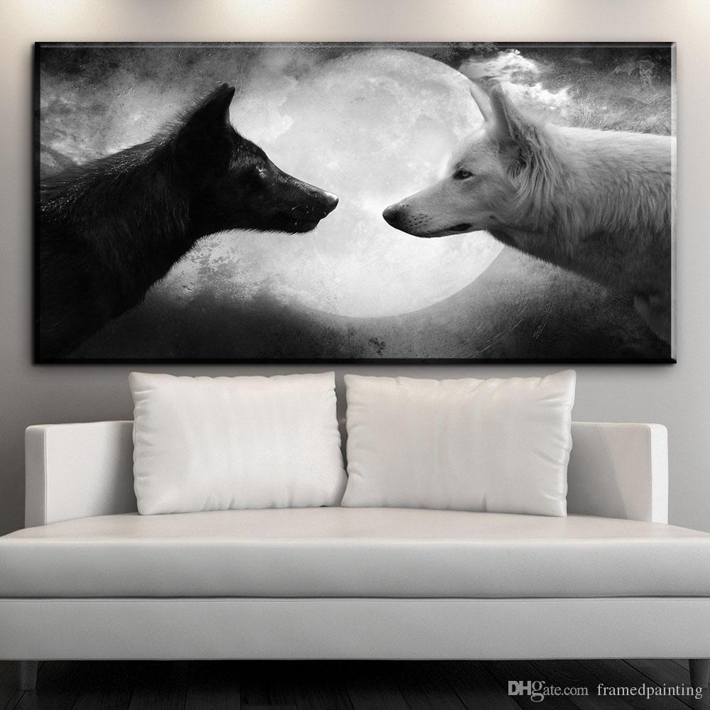 moderne Leinwand Kunst schwarz Wolf VS weiß Wolf Mond Nacht Leinwand Bilder Tier Ölgemälde für Wohnzimmer Schlafzimmer Wand No gerahmt