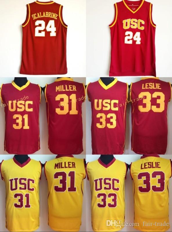 644081d9ca4 2019 USC Trojans College 24 Brian Scalabrine Jersey 31 Matt Miller 33 Lisa  Leslie Basketball Jerseys University Team Red Color White Away Quality From  Fair ...