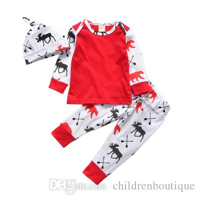 3d2d6bab798 2019 Christmas Infant Baby Clothes Set Newborn Toddler Reindeer Printed  Pure Cotton Long Sleeve T Shirt+Pants+Hat Set Kids Casual Outfits From ...