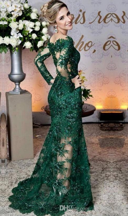 Glamoroso Verde Esmeralda Vestidos de Noite Moda Lace Applique Manga Longa Sereia Vestido de Baile Custom Made Ver Através de Tule Longo Vestido de Noite