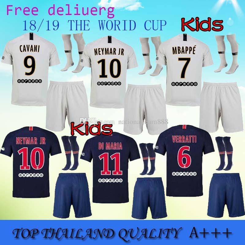 Paris Kids Kits+sock 2018 2019 NEYMAR JR MBAPPE Soccer Jersey Thai 18 19 Maillot  De Foot CAVANI LUCAS DI MARIA Children Football Shirts NEYMAR JR Shirt DI  ... 93130efe2