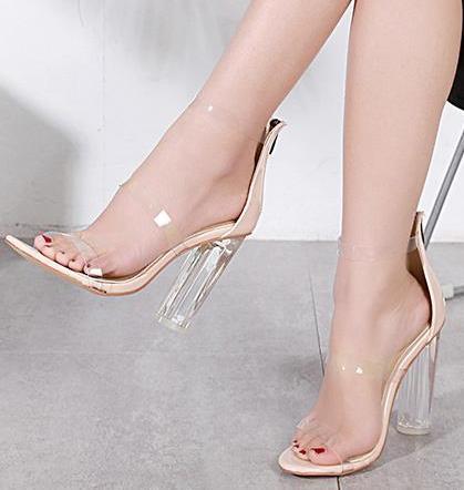 Tacones Chunky A 40 Tallas Boda Pvc 35 42 Transparente De Altos Sandalia Grandes Nude Zapatos 41 Mujer Moda wO80nXPk