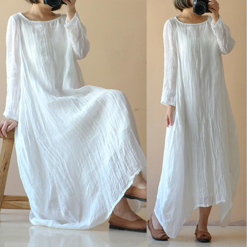 Plus Size Celmia Women Retro Linen Dress 2018 Autumn Casual Long Sleeve  Solid Loose Asymmetric Long Maxi Vestidos Robe Kaftan