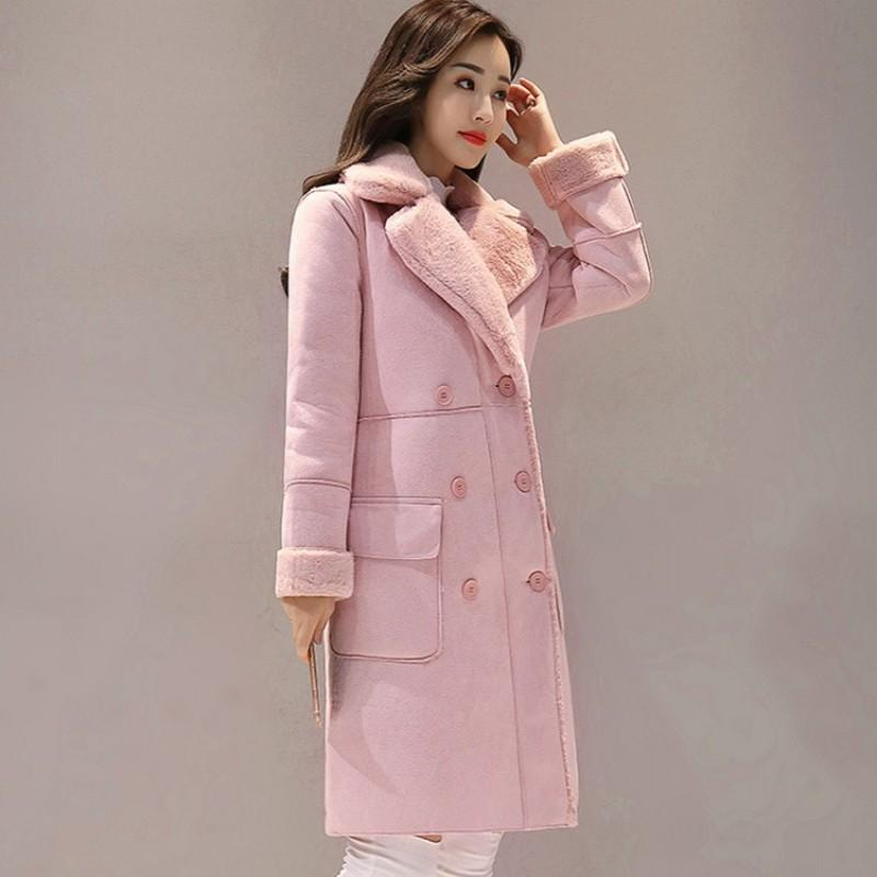 5582ab6304d 2019 2018 Winter Women Faux Suede Leather Long Coat Fur Lining Padded Jacket  Slim Fit Casual Double Breasted Overcoat Pink Outwear From Primali, ...
