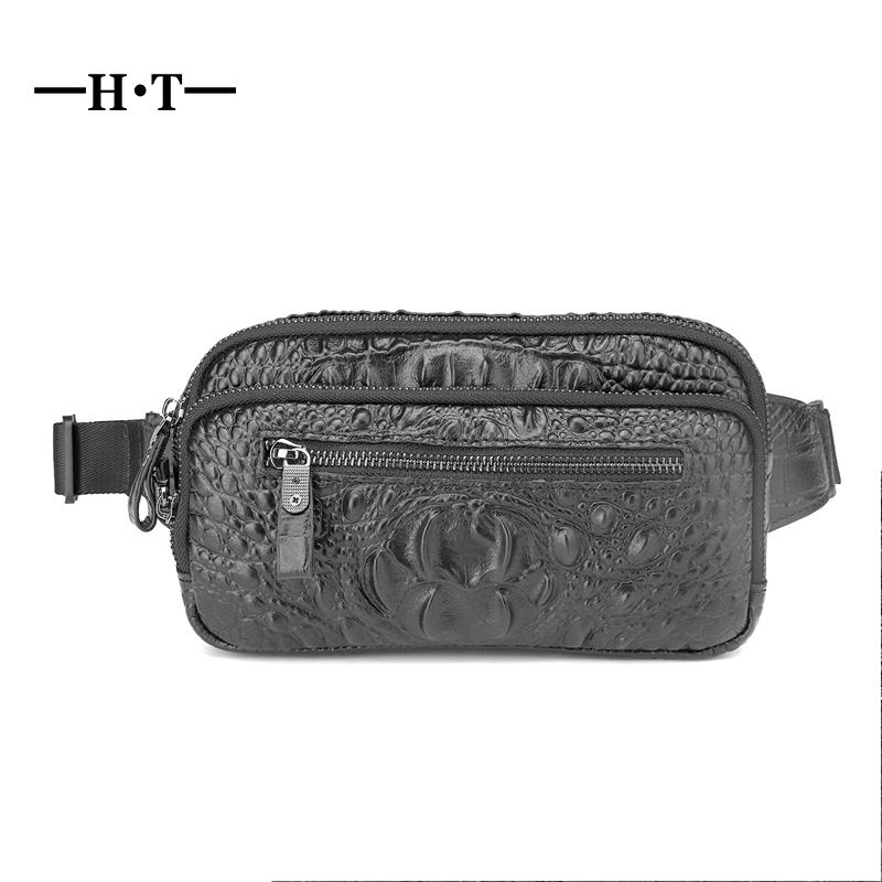 0c2088fc0ab2c HT Cow Leather Waist Pack Mens Genuine Leather Crossbody Bags Waist ...