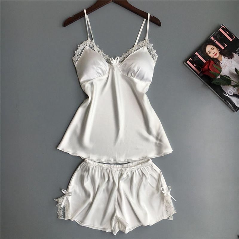 2019 Pyjama Femme Sexy Women S Satin Silk Summer Spaghetti Strap Sleepwear  Lace Pyjamas Women Home Clothes Bathrobe 2018 From Clothesg009 481e1f231