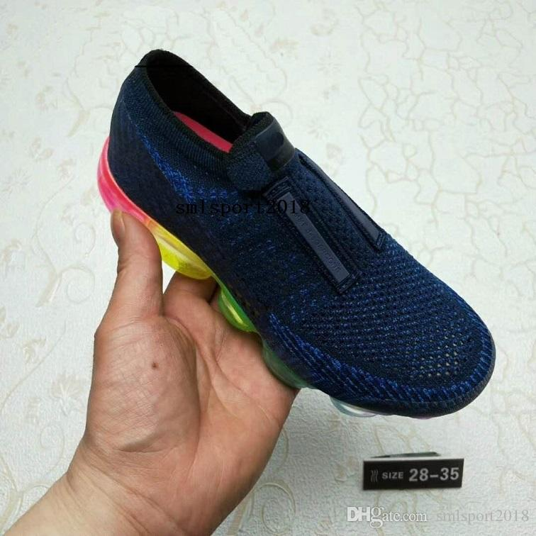 2018 Air Knitting Unlace Vamp Portable kidss Running Shoes Children 2018 Vapormax Sports Shoes Boys Girls Training Sneakers Size eur28-35