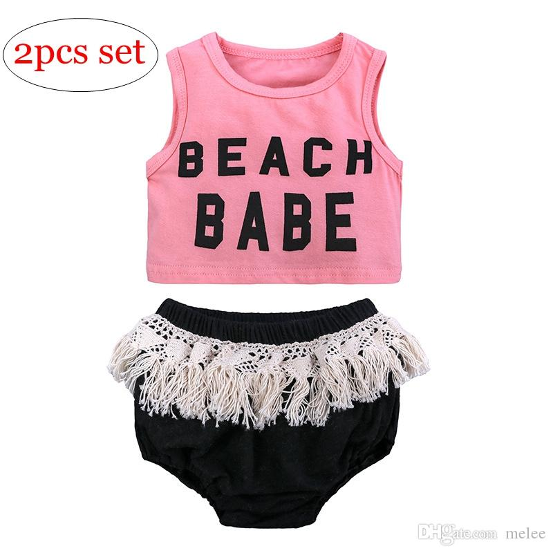 850d439db995 2019 INS Summer Beach Babe Letter Printed Girls Vest Sleeveless T ...