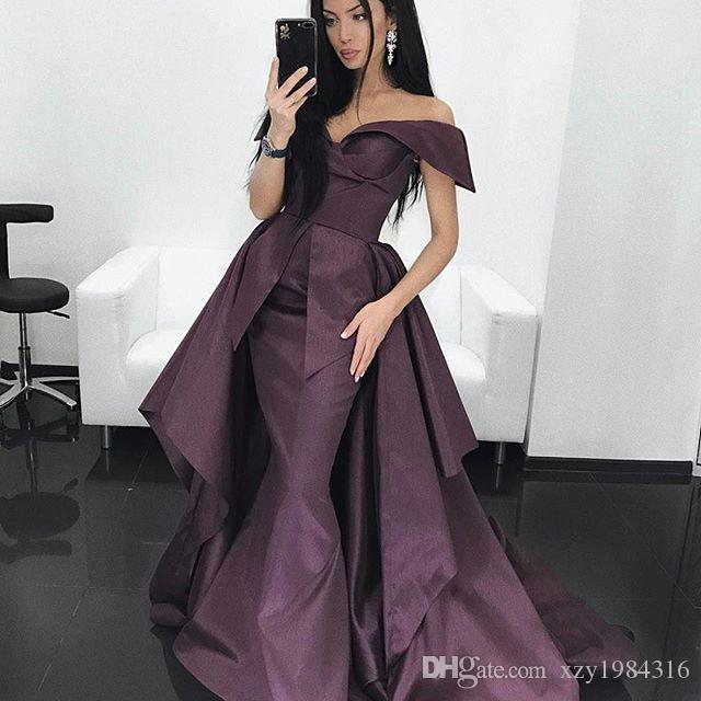 Dubai Stylish Mermaid Prom Dresses With Overskirt Sexy Off Shoulder Sleeveless weep Train Party Dress Glamorous Celebrity Evening Dresses