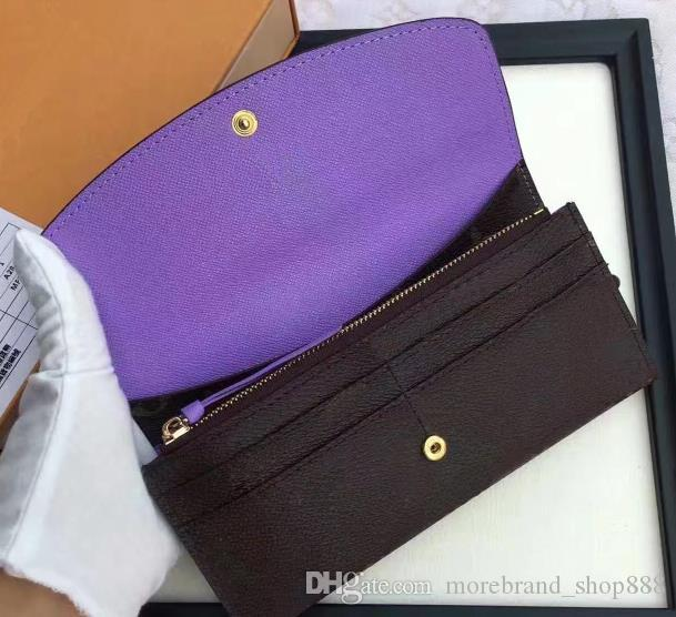 Toptan kadınlar lady uzun cüzdan renkli tasarımcı sikke çanta Kart sahibinin kutusu ile kadınlar klasik fermuarlı cebi