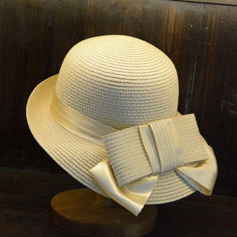 e46b7eb1a3d48 QPALCR High Quality Straw Beach Hats Seaside Summer Hat Female Bowknot Sun  Shading Cap Sun Bonnet Outdoor Travel Elegant Caps Beach Hat Straw Beach Hat  ...