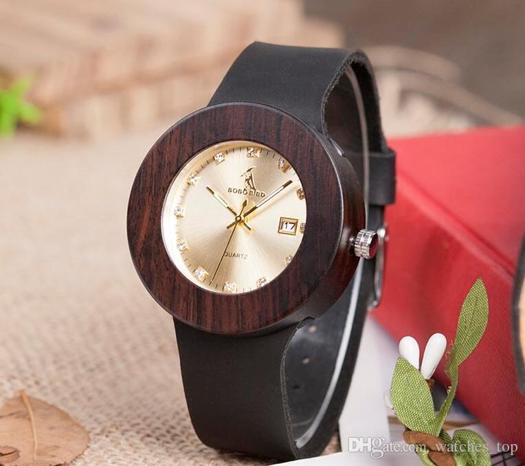 2018 BOBO BIRD Watch Men Ebony Wooden Strap Date Saat Erkek Kol Quartz Movement Handmade Brand Watches