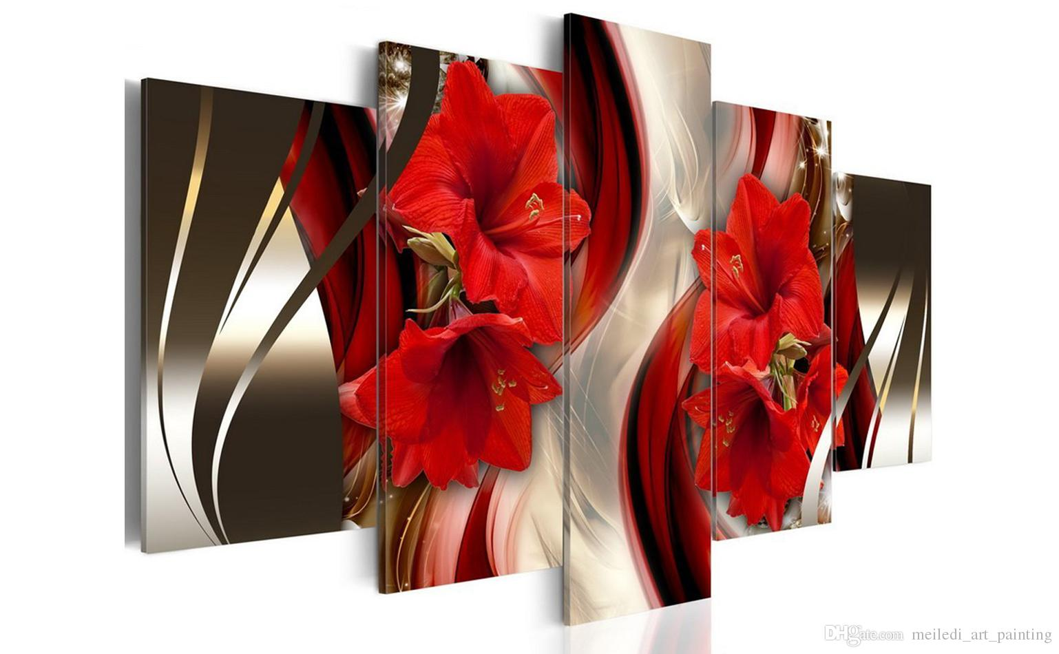 5 pieces canvas painting red lily flowers wall art painting stripe background wall art for home decor with wooden framed ready to hang gifts