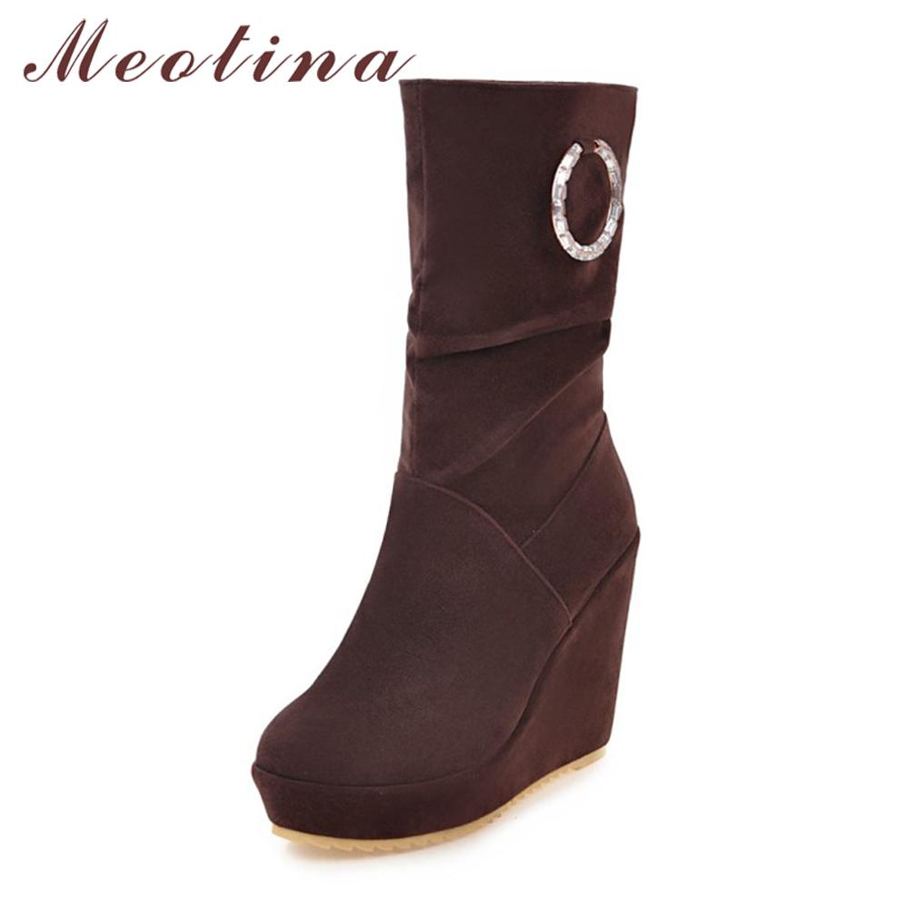 53be3852352 Meotina Boots Women Platform High Heel Winter Boots Pleated Mid Calf Wedge  Heel 2018 Round Toe Ladies Shoes Brown Black Mid Calf Boots Womens Ankle  Boots ...