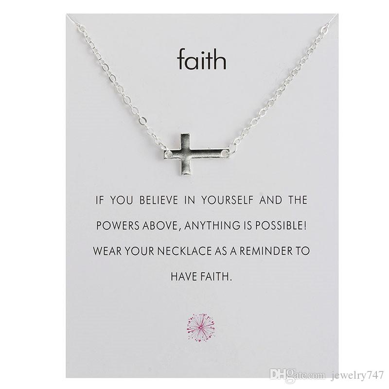 Sideways Cross Necklace Simple Cross Pendant Silver or Gold Color 18 Inches for Women Girls with Message Card