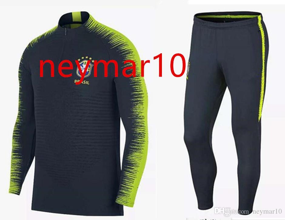 2018 19 Jersey-Brazil Training Suits Uniforms Shirts Chandal NEYMAR JR  Tracksuits Survetement Long Sleeve Tight Pants With Zipper Tracksuit  Training Suit ...