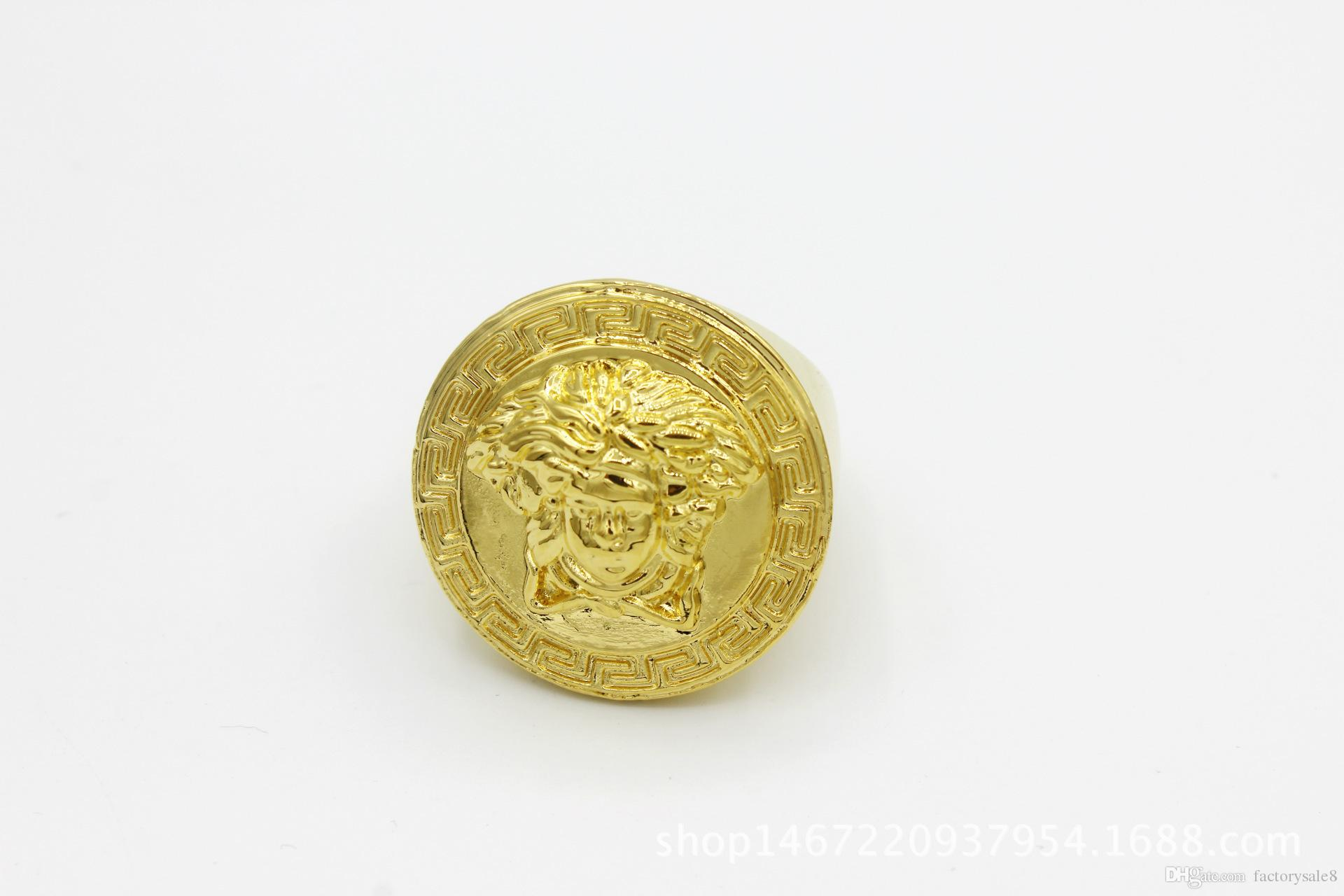 2018 New Hip Hop Medusha Ring With Corn Chain 24K Gold Plated,hign quality and