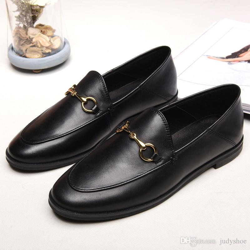 76d251f426d Best Selling Genuine Leather Fashion Loafers Women Luxury Brand Mules Shoes  High Quality Moccasins Horsebit Flat Casual Shoes Zapatos Mujer Cheap Shoes  ...