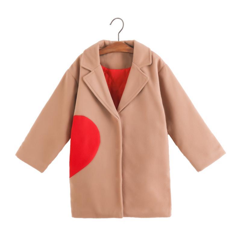 55cb3c553e37 Kids Girls Jackets 2018 New Autumn Winter Solid Full Sleeve Long ...