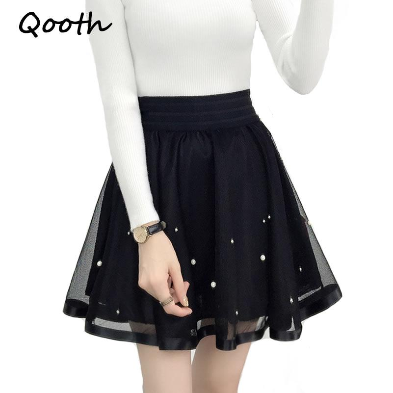 c82cdd045c37 2019 Qooth Women Skirt Sexy Saia Short Skater Skirts For Ladies Black  Pleated Tutu School Skirt Fashion Faldas Jupe Ball Gown QH980 From Zhusa,  ...