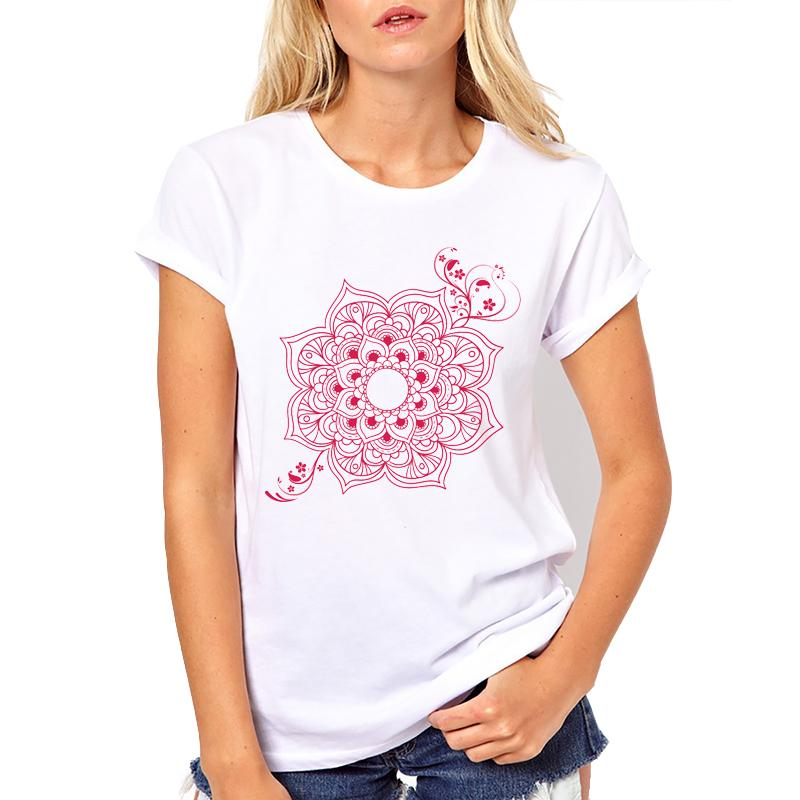 2018 Casual Estampada Nueva Cuello Mandala Mujer Cómoda Camiseta De Para O 8nmN0w